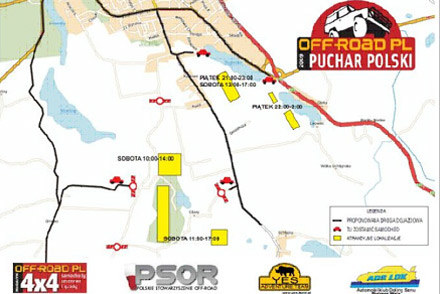 Mapka trasy II rundy Pucharu Polski OFF-ROAD PL 2009, Ostróda /