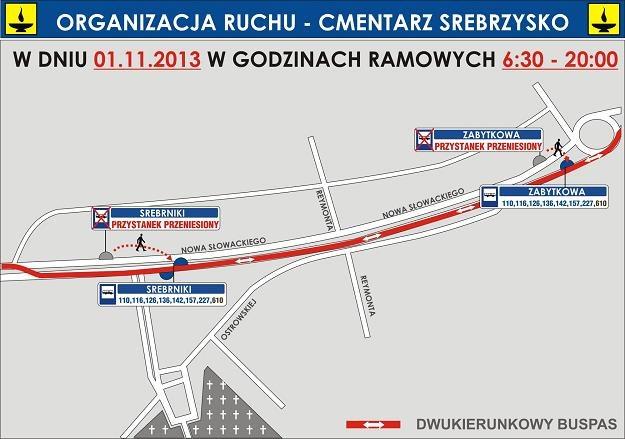 Mapka z organizacją ruchu przy cmentarzu Srebrzysko /materiały prasowe