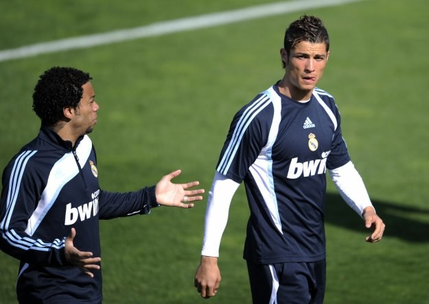 Marcelo i Cristiano Ronaldo - piłkarze Realu /AFP