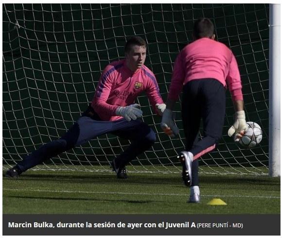 Marcin Bułka na treningu juniorów FC Barcelona /Internet