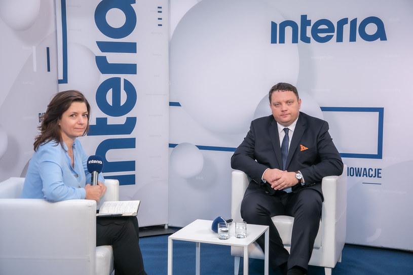 Marcin Chludziński, prezes KGHM w studiu Interii. /Fot. Ireneusz Rek /INTERIA.PL