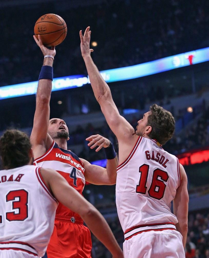 Marcin Gortat wśród graczy Bulls /AFP