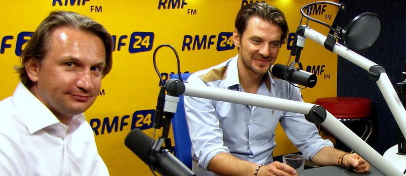 """Marcin Kwaśny i Michał Kondrat - goście """"Dania Do Myślenia"""", fot. Kamil Młodawski /RMF FM"""