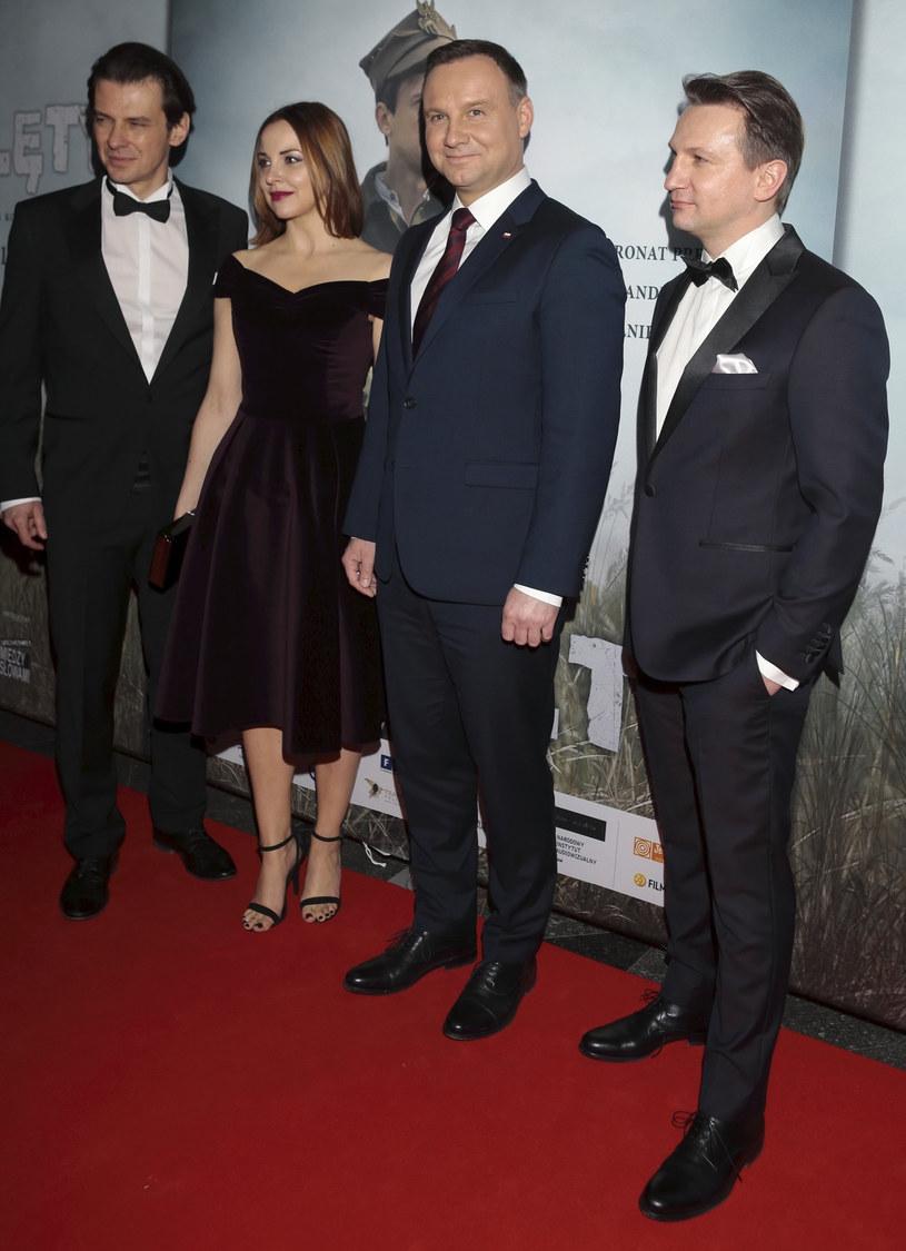 Marcin Kwaśny z żoną Dianą na premierze /Adam Jankowski /Reporter