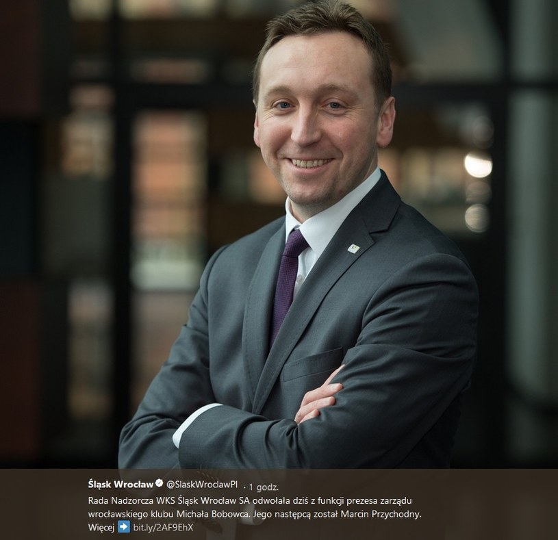 Marcin Przychodny, nowy prezes Śląska Wrocław; źródło: konto Śląska Wrocław na Twitterze /