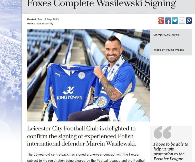 Marcin Wasilewski podczas oficjalnej prezentacji w FC Leicester City. /INTERIA.PL