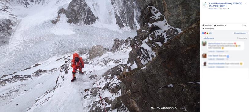 Marek Chmielarski i Artur Małek podczas wspinaczki na K2 /FB/Polski Himalaizm Zimowy 2016-2020 im. Artura Hajzera /
