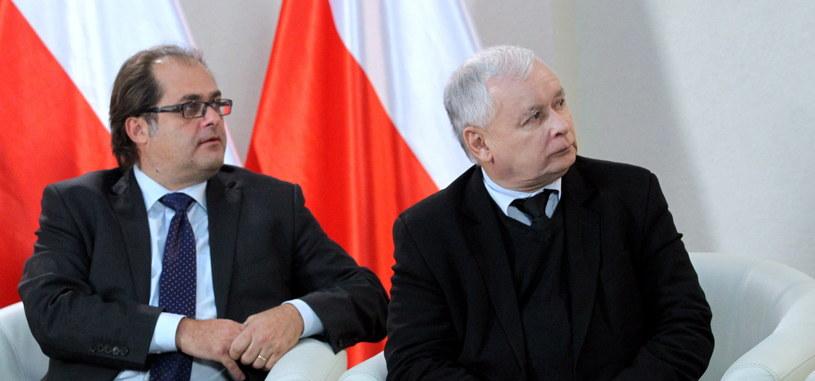 Marek Gróbarczyk i Jarosław Kaczyński /Tomasz Waszczuk /PAP