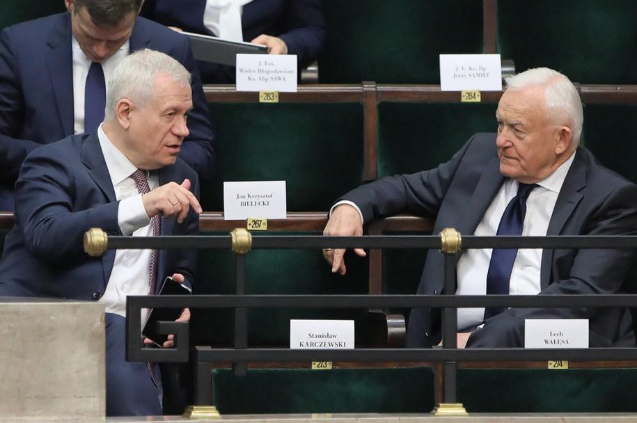 Marek Jurek i Leszek Miller w Sejmie /Paweł Supernak /PAP