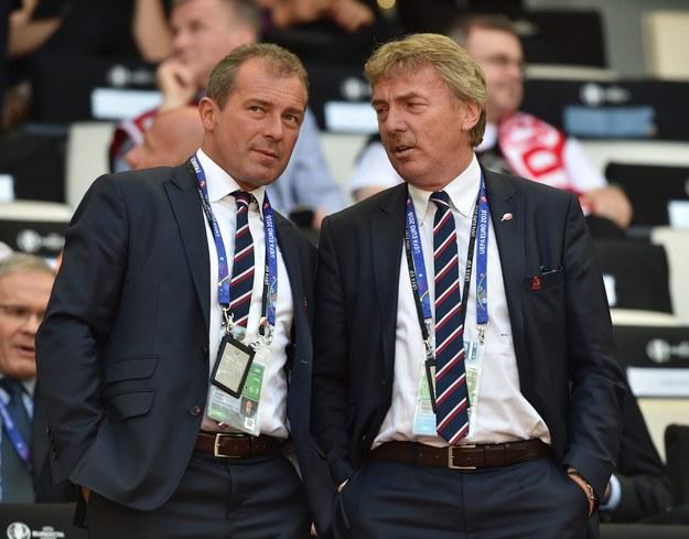 Marek Koźmiński i Zbigniew Boniek w czasie meczu reprezentacji Polski i Ukrainy na Euro 2016 /PETER POWELL   /PAP/EPA