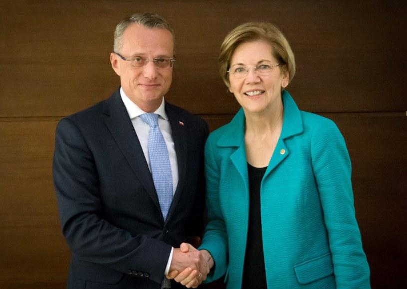 Marek Magierowski i Elizabeth Warren /MSZ /Twitter
