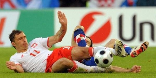 Marek Saganowski podczas Euro nie oszczędzał się /AFP