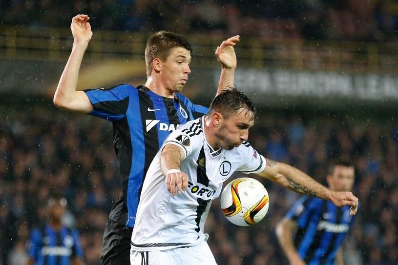 Marek Saganowski z Legii (biały strój) tu w meczu Ligi Europejskiej z Club Brugge /PAP