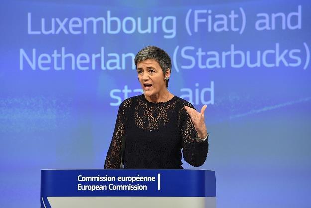 Margrethe Vestager, europejska komisarz ds. konkurencji, dzisiaj na  konferencji w Brukseli /AFP