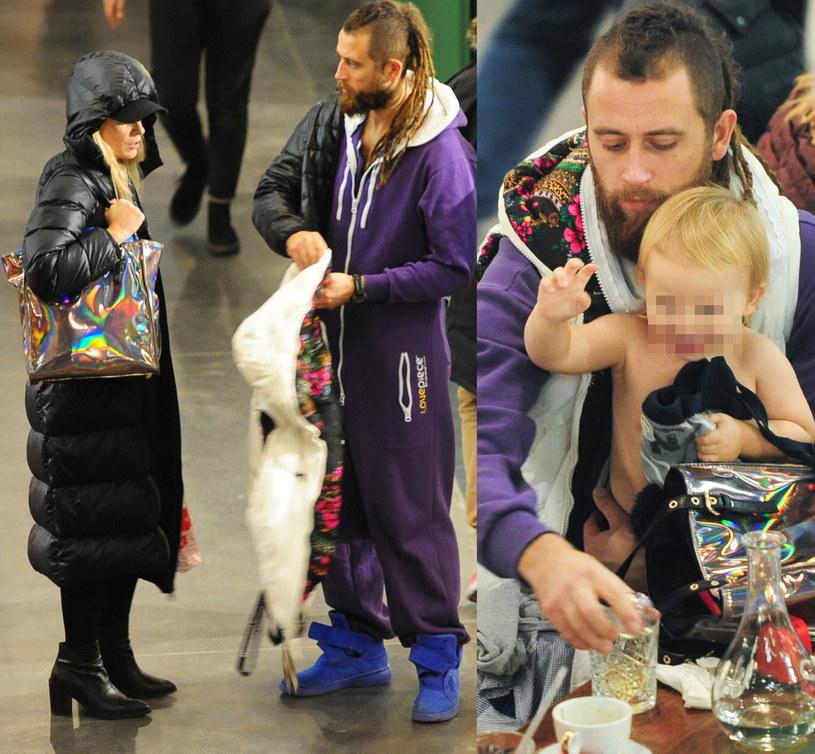 Maria Sadowska z rodziną na zakupach /Foto IP
