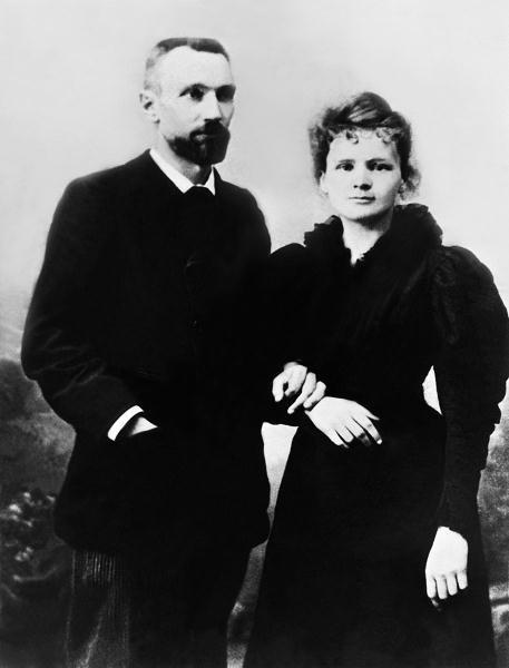 Maria Skłodowska-Curie z mężem Piotrem, niedługo po ślubie, 1895 r.