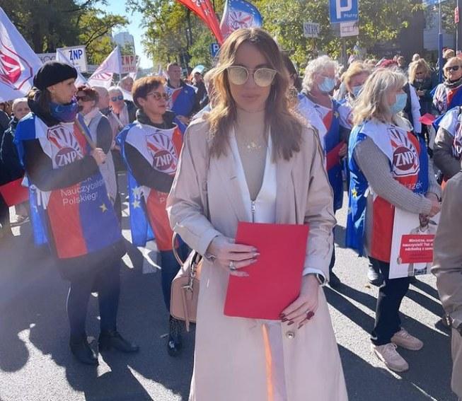 Marianna Schreiber na strajku nauczycieli /Instagram/marysiaschreiber /