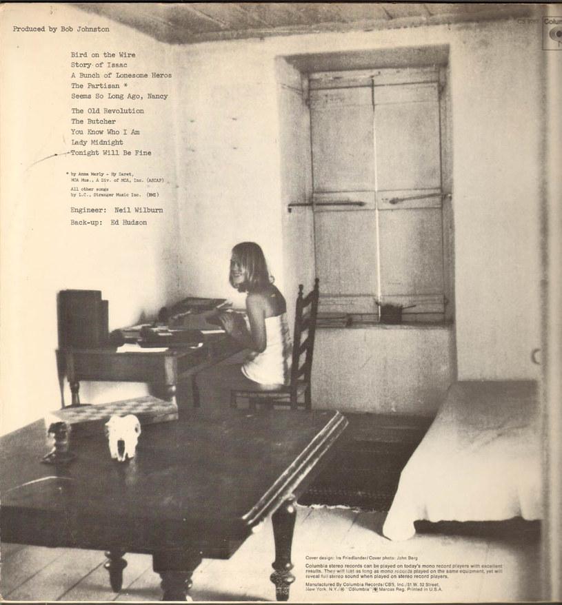 """Marianne Ihlen na tylnej okładce płyty """"Songs from a Room"""" Leonarda Cohena /"""