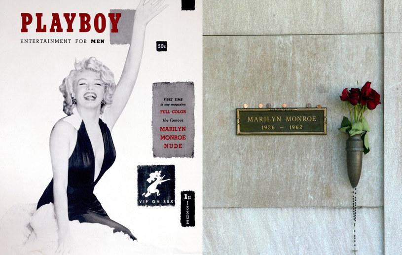 """Marilyn Monroe na okładce pierwszego """"Playboya"""" (L). Hugh Hefner wykupił sobie miejsce obok słynnej aktorki na Westwood Memorial Park w Los Angeles (P) /Mel Bouzad /Getty Images"""