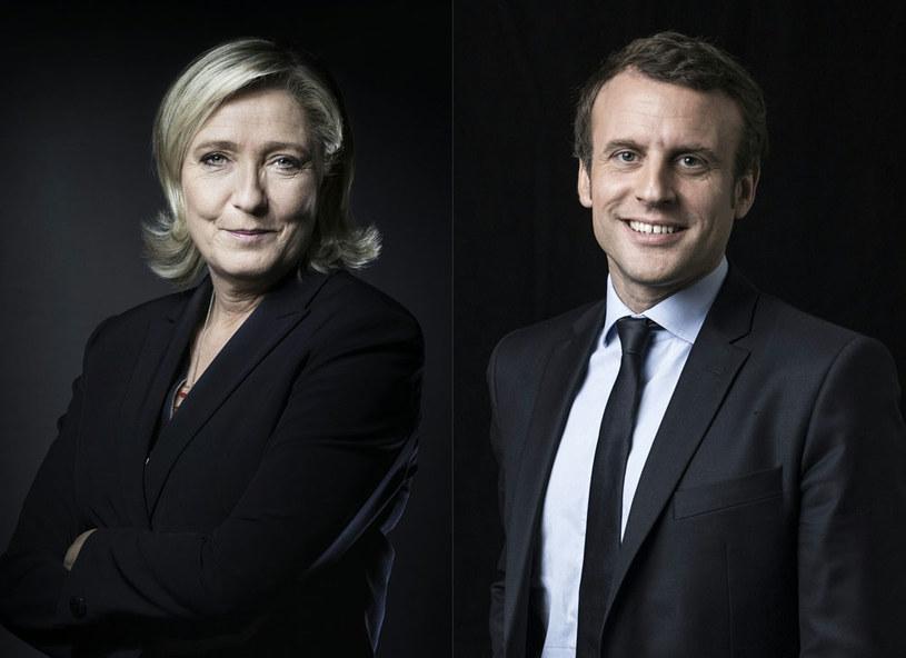 Marine Le Pen i Emmanuel Macron będą prowadzić w pierwszej turze wyborów – wynika z sondaży /AFP
