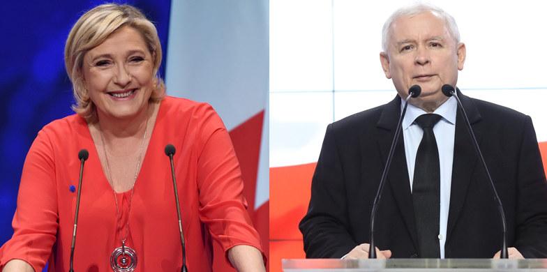 Marine Le Pen i Jarosław Kaczyński /AFP / Stanisław Kowalczuk, East News /