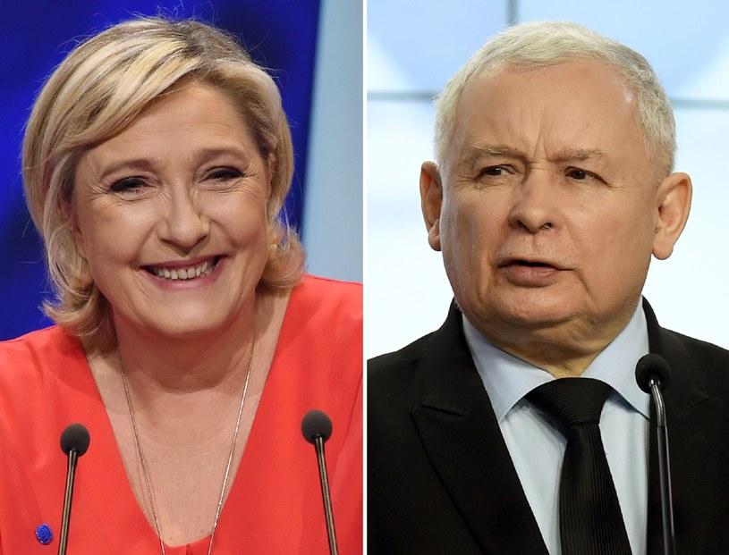 Marine Le Pen i Jarosław Kaczyński /AFP