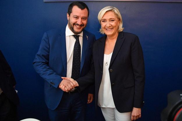 Marine Le Pen i Matteo Salvini /ALESSANDRO DI MEO    /PAP/EPA