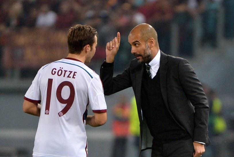 Mario Goetze i Pep Guardiola /AFP