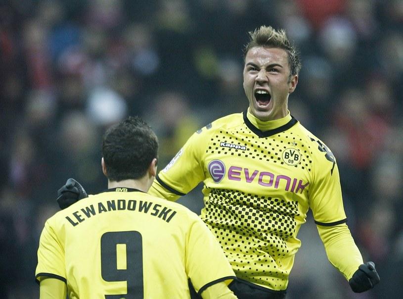 Mario Goetze (z prawej) i Robert Lewandowski z czasów gry w Borussii Dortmund /AFP