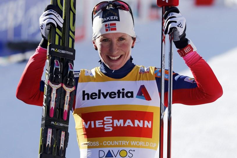Marit Bjoergen po sobotnim triumfie w Davos /AFP