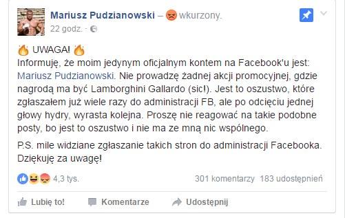 Mariusz Pudzianowski zaapelował do swoich fanów /Fot. Facebook /