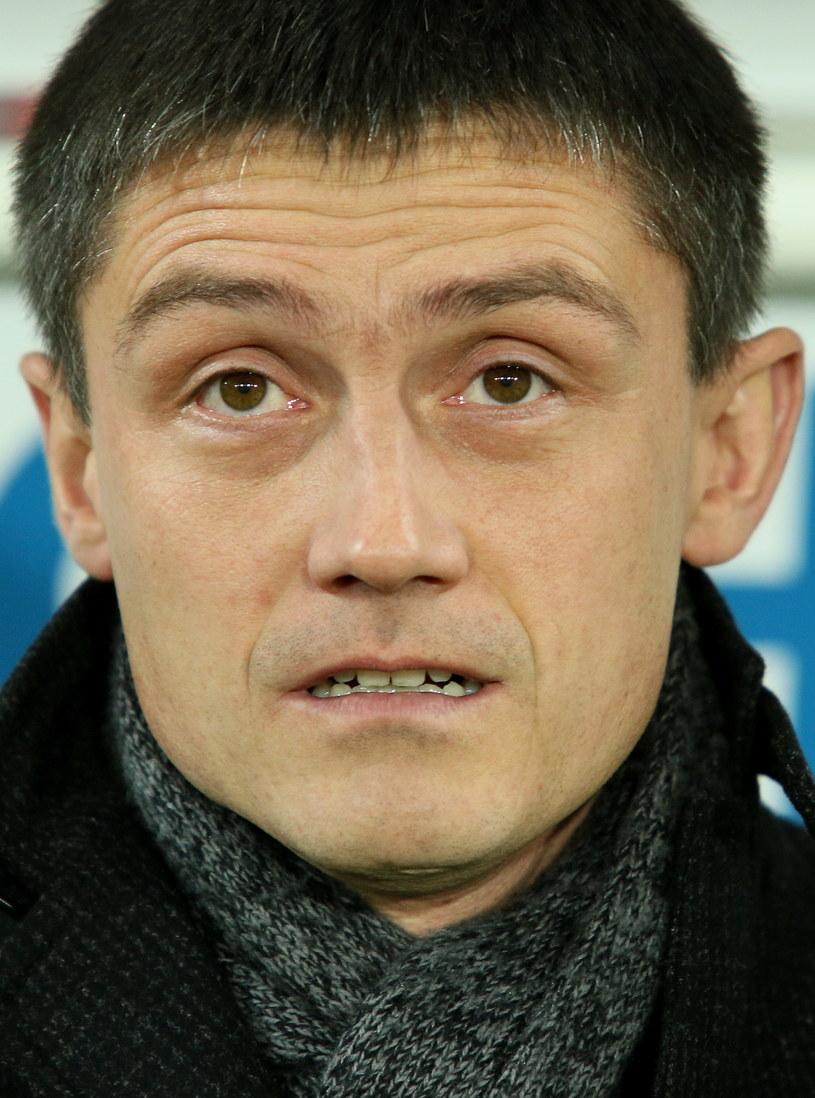 Mariusz Rumak podczas meczu Cracovii z Lechem /Stanisław Rozpędzik /PAP