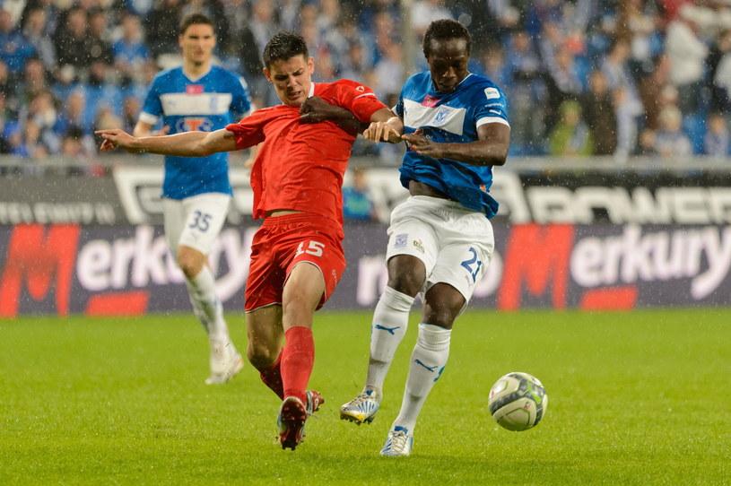 Mariusz Stępiński w meczu z Lechem Poznań /Fot. Jakub Kaczmarczyk /PAP