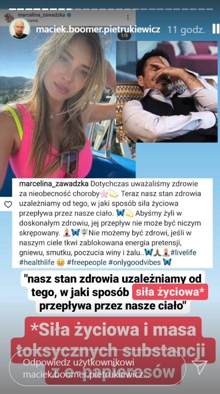 Marketingowiec skomentował post Zawadzkiej, https://www.instagram.com/maciek.boomer.pietrukiewicz/ /Instagram