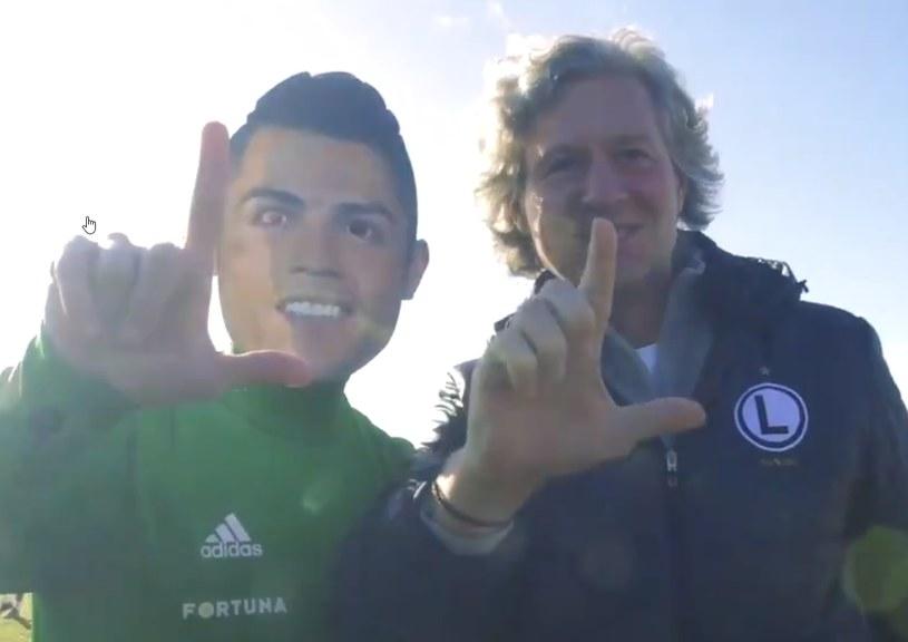 Marko Veszović vel Cristiano Ronaldo i prezes Dariusz Mioduski /