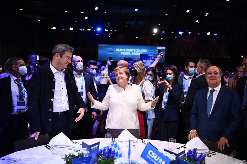 Markus Soeder, Angela Merkel i Armin Laschet /LUKAS BARTH-TUTTAS / POOL /PAP/EPA