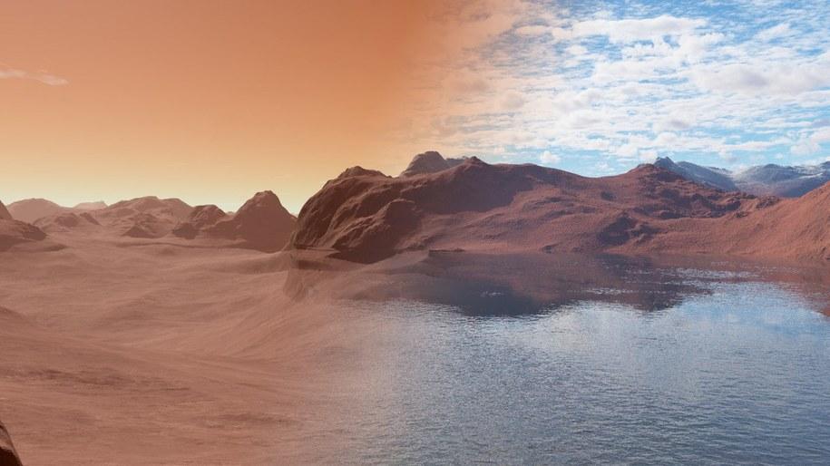 Mars obecnie (po lewej) i 3,5 miliarda lat temu (po prawej) /Jon Wade /Materiały prasowe