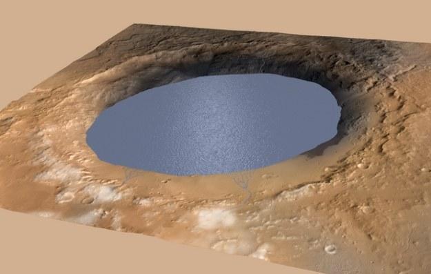 Marsjańskie jezioro.   Fot. NASA/JPL-Caltech/ESA/DLR/FU Berlin/MSSS /NASA