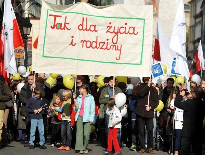 Marsz dla Życia i Rodziny w Krakowie, 14.10.2012 /M. Lasyk /Reporter