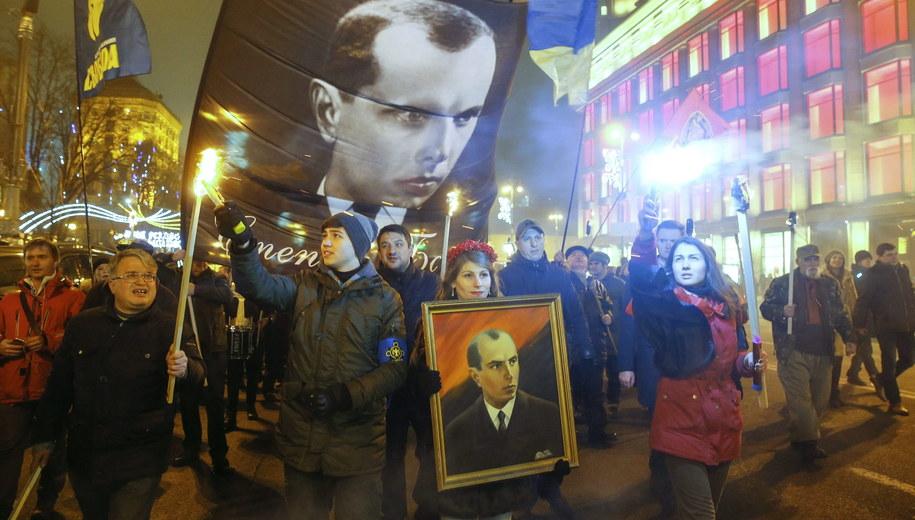 Marsz nacjonalistów w Kijowie /SERGEY DOLZHENKO /PAP/EPA