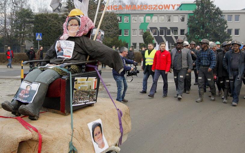 Marsz pracowników KWK Sośnica-Makoszowy /Andrzej Grygiel /PAP
