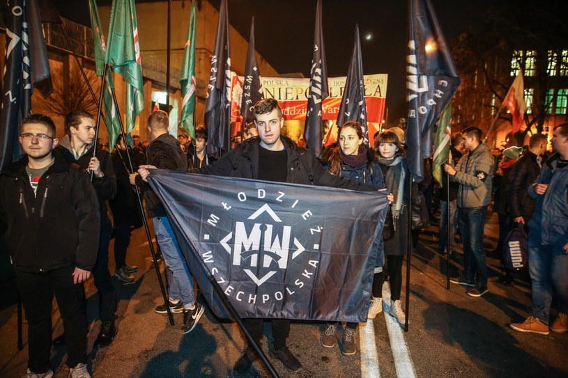 Marsz Żołnierzy Wyklętych zorganizowany przez Obóz Narodowo-Radykalny i Młodzież Wszechpolską /Rafał Guz /PAP