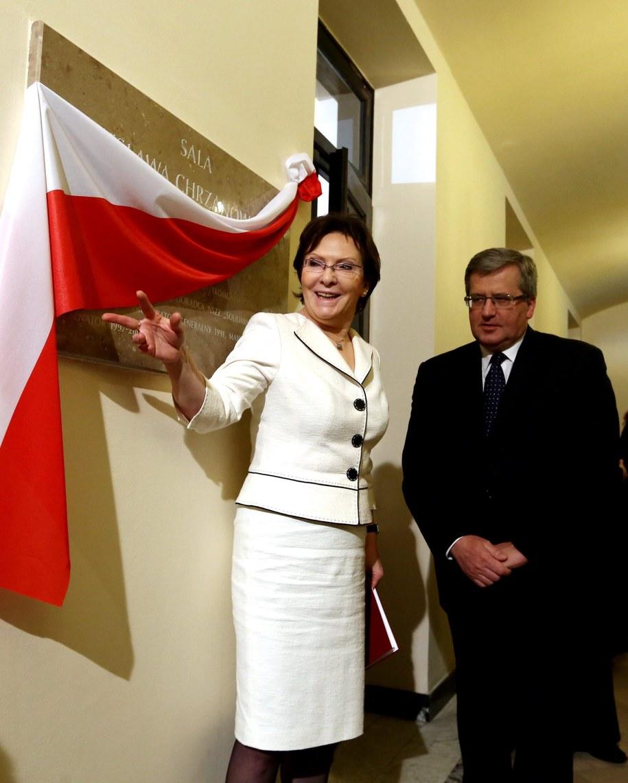 Marszałek Sejmu Ewa Kopacz i prezydent Bronisław Komorowski (kwiecień 2013) /Tomasz Gzell /PAP