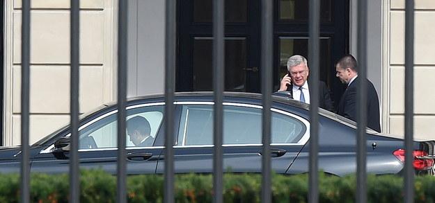 Marszałek Senatu Stanisław Karczewski (2P) po spotkaniu z prezydentem Andrzejem Dudą w Pałacu Prezydenckim w Warszawie /Radek Pietruszka /PAP