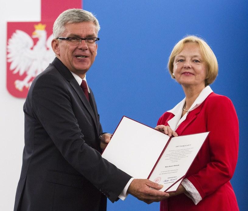 Marszałek Senatu Stanisław Karczewski i była konsul honorowa RP w Ohio (USA) Maria Szonert-Binienda /Andrzej Hulimka  /Reporter