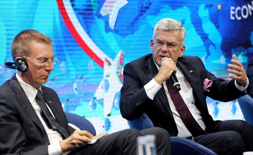 Marszałek Senatu Stanisław Karczewski i minister spraw zagranicznych Łotwy Edgars Rinkevics / Grzegorz Momot    /PAP
