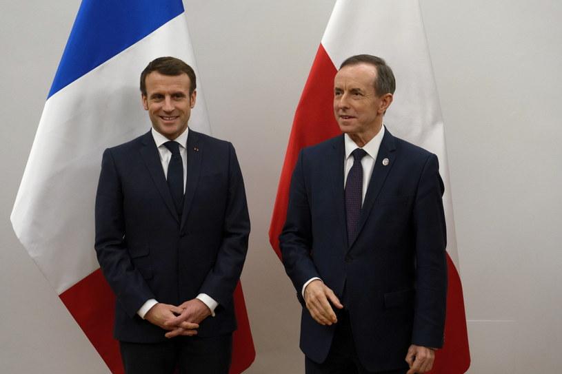 Marszałek Senatu Tomasz Grodzki oraz prezydent Francji Emmanuel Macron /Mateusz Marek /PAP