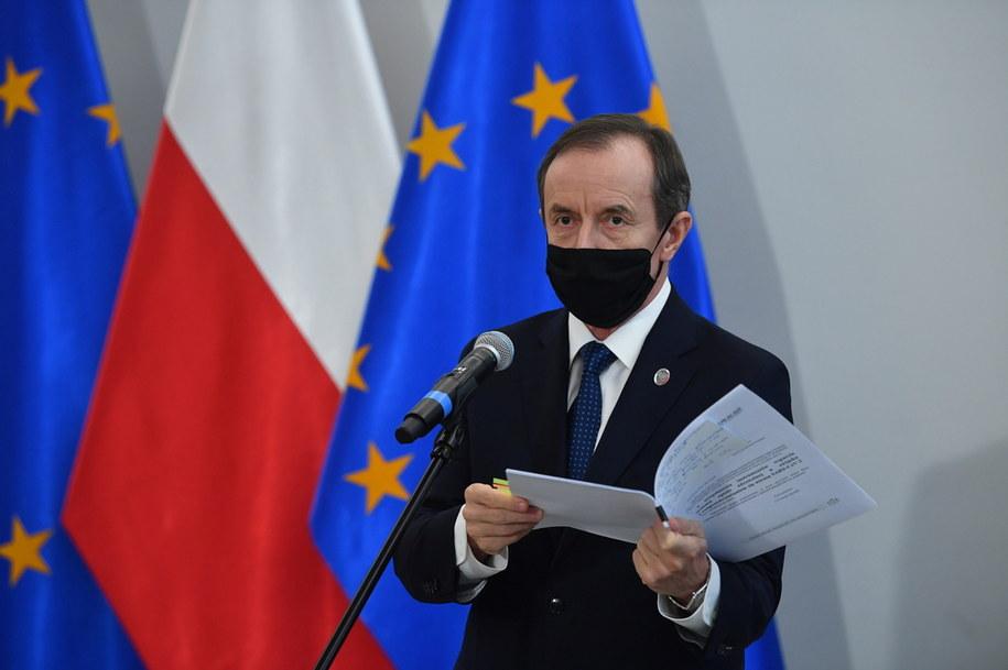 Marszałek Senatu Tomasz Grodzki podczas konferencji prasowej / Radek Pietruszka   /PAP