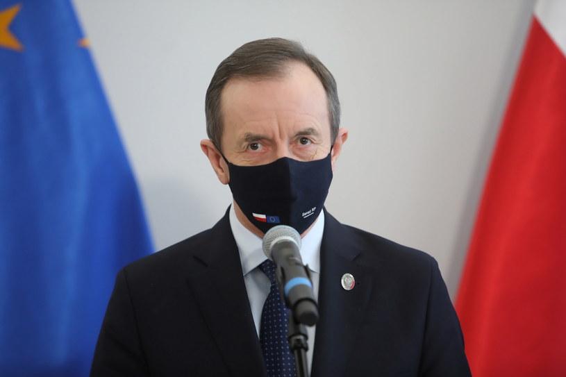Marszałek Senatu Tomasz Grodzki podczas konferencji prasowej /Wojciech Olkuśnik /PAP