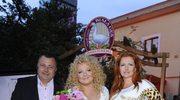 Marta Grycan z mężem Adamem i Magdą Gessler